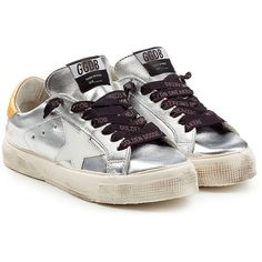 Golden Goose Super Star Metallic Leather Sneakers (€230) ❤ liked on Polyvore featuring shoes, sneakers, silver, lace up sneakers, leather sneakers, lacing sneakers, silver metallic shoes and distressed leather shoes