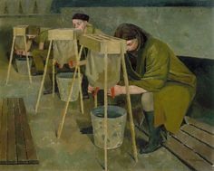 mary evelyn dunbar milking practice with artificial udders 1940