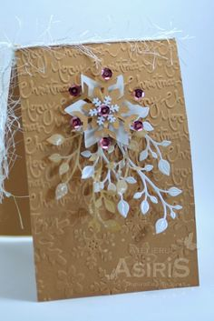 Christmas Handmade Card with Vintage Snowflake