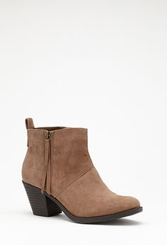 Zippered Faux Suede Booties | FOREVER21 - 2000099355