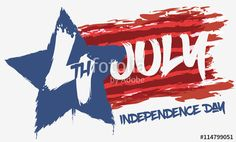 Patriotic Banner in Brushstrokes to Commemorate U.S.A. Independence Day