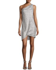 One-Shoulder Draped Sequined Cocktail Dress by Halston Heritage at Neiman Marcus.