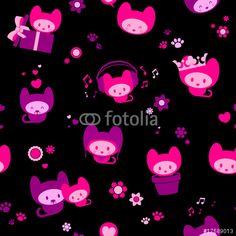 Vecteur : Cute seamless kitten background