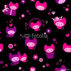 Vecteur : Cute seamless kitten background