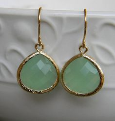 Mint Green Chalcedony Glass and Gold Dangle Earrings-Bride-Bridal-Wedding on Etsy, $22.50