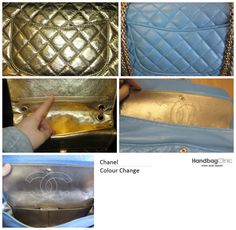 This bag was transformed from a gold metallic to a light blue colour.