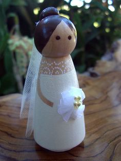 Wood Cake Toppers : Elegant  Bride Tulle Veil  Brown Hair. My gift to Angela for her cake topper.
