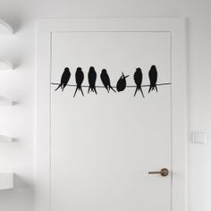 Seven Birds in Row Wall Decal Model  KC270 Break the monotony of any room decor plan by installing this Seven Birds in Row Wall Decal. The winged friends sitting on a line expressing a playful mood will add a cheerful disposition to the smooth door, wall or even the glass panels.  SMALL   :-  24 X 9 - IN INCHES MEDIUM :- 36 X 10 - IN INCHES LARGE   :- 48 X 14 - IN INCHES