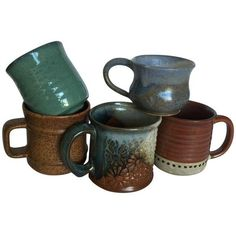 Vintage Pottery Mugs - Set of 5 ($62) ❤ liked on Polyvore featuring home, kitchen & dining, drinkware, filler, dinnerware, pottery mugs, pottery cups, handmade pottery mugs and handmade mugs