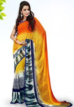 Yellow-Orange Color Georgette Designer Saree
