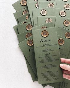 "Pretty menus on green card stock and our gold ""Tree"" wax seal. For all greenery wedding lovers out there. Wedding Menu Cards, Wedding Stationary, Wedding Table, Wedding Day, Wedding Branding, Garden Wedding Invitations, Wedding Ceremony, Menu Design, Wax Seals"
