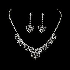Fabulous Silver Clear Rhinestone & Austrian Crystal Bridal Jewelry Set