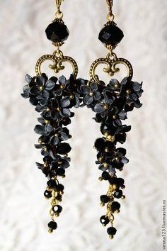 """Серьги """"Золотая ночь"""" - чёрный, серьги, серьги ручной работы, серьги с цветами, handmade earrings"""