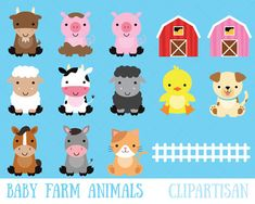 Digital clip art stamps and paper by ClipArtisan on Etsy Baby Farm Animals, Barnyard Animals, Safari Animals, Cute Animals, Woodland Animals, Farm Animal Birthday, Farm Birthday, Cute Animal Clipart, Arctic Animals