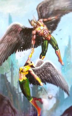 Hawkman & Hawkgirl by Rudy Ao. I loved them in the JSA book that was out pre-52.
