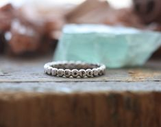 sterling silver hand stamped River Pebble stacking ring - Personalized rustic stackable stacking rings