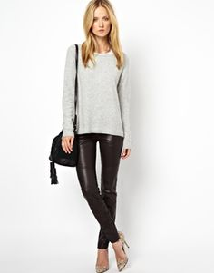 Image 1 of Selected Bean Leather Pants with Zip and Panel Detail