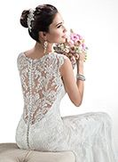 Beautiful lace wedding dress with low back peeking through Melanie - by Maggie Sottero