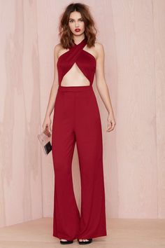 Nasty Gal Cross My Heart Jumpsuit - Burgundy | Shop Rompers + Jumpsuits at Nasty Gal