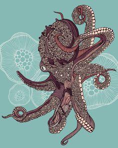 Valentina Ramos Octopus Bloom Sheet Set from Deny Designs. Saved to DENY Designs Sheet Sets. Le Kraken, Motif Art Deco, Octopus Art, Octopus Decor, Octopus Drawing, Octopus Design, Bloom, Wow Art, Fleece Throw