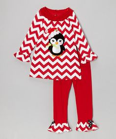 Take a look at this Red Zigzag Penguin Tunic & Ruffle Leggings - Infant, Toddler & Girls by Rare Editions on #zulily today!