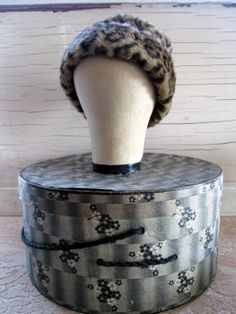 Vintage Cheetah Leopard Faux Fake fur Hat Cloche by Holliezhobbiez, $18.50