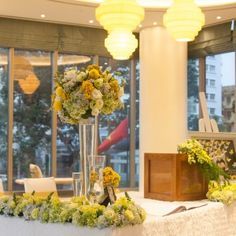#yellow #weddingtheme #flowerdecoration #flowergate #gallerytable #receptiontable #pingpong #welcomedrinks Flower Decorations, Wedding Decorations, Table Decorations, Reception Table, Yellow, Flowers, Plants, Florals, Wedding Decor