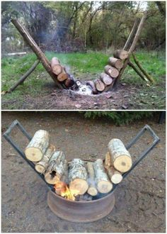 Perfect hack for any backyard bonfire! amazing way to never run out of firewood. Set this up and forget about running out of wood! Backyard diy back yards Self Feeding Fire Lasts 14 Hours Watch The Video Camping Survival, Go Camping, Survival Skills, Camping Hacks, Outdoor Camping, Camping Ideas, Camping Outdoors, Camping Essentials, Bushcraft Camping