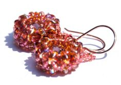 Lava Beaded Crystal Earrings, 14k Rose Gold Filled, Bead Weaving, Boho Chic, Swarovski Crystal, Red Magma, Drop Earrings by seedbeadsofchange on Etsy