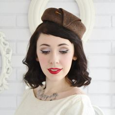 Vintage Brown Tweed Pill Box Hat with Hat by RabbitHeartDesigns