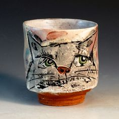 Crimson Laurel Gallery Ron  Meyers Yunomy with Cat http://www.crimsonlaurelgallery.com/Artist-Detail.cfm?ArtistsID=1080