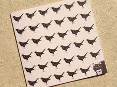 Cat card - bird card - cute animals - animal art - woodland - nature - pet card…