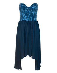Motel Chika Strapless Dip Hem Dress in Foil Blue Print
