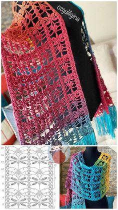 Crochet Shawl Diagram, Crochet Poncho Patterns, Crochet Cardigan, Crochet Scarves, One Skein Crochet, Basic Crochet Stitches, Crochet Capas, Crochet Triangle, Crochet Woman