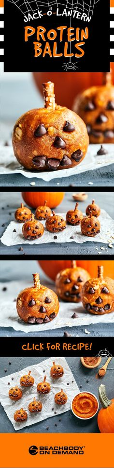 Boo! Check out these fun jack o lantern protein balls made with Shakeology for a healthy Halloween treat! Shakeology recipes // 21 day fix // protein ball recipe // healthy snacks // healthy Halloween recipes // Shakeology recipe // Beachbody // Beachbody Blog