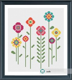 This pattern is a PDF file that you will b. Cross Stitch Quotes, Cross Stitch Letters, Cross Stitch Boards, Cross Stitch Flowers, Cross Stitching, Cross Stitch Embroidery, Cross Stitch Designs, Modern Cross Stitch Patterns, Happy Flowers