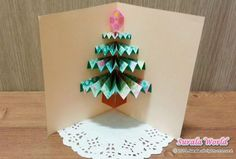 Origami : Pop-up Christmas Tree Card Christmas Origami, Christmas Tree Cards, All Things Christmas, Christmas Crafts, Christmas Decorations, Christmas Ornament, Ornaments, Pop Up Art, Origami Love