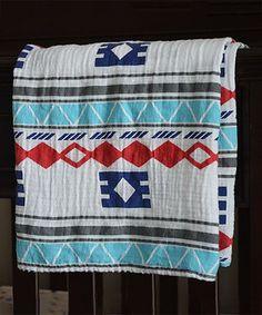 Raising Royale 47'' x 47'' Blue & Red Tribal Muslin Swaddling Blanket