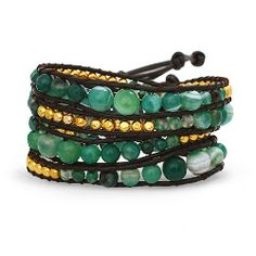 Chen Rai Jade and Gold Wrap Bracelet $28 #wrapbracelet