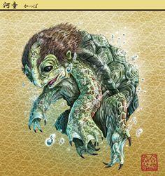 Kappa - The Kappapedia: - - Paintings Prints - - Japanese Mythology, Japanese Folklore, Kappa Monster, Pokemon, Japanese Monster, Clay Figurine, Fantasy Dragon, Mythological Creatures, Japanese Prints