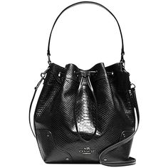 Pre-owned Coach Mickie Drawstring In Exotic Leather ( F35928) Shoulder... ($300) ❤ liked on Polyvore featuring bags, handbags, shoulder bags, black, leather purse, coach satchel, coach handbags, shoulder strap bag and shoulder strap purses