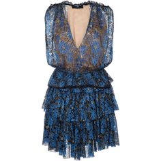 Paule Ka Lurex Floral Tiered Lace Mini Dress ($2,145) ❤ liked on Polyvore featuring dresses, blue, v neck lace dress, mini dress, short mini dress, floral mini dress and blue mini dress