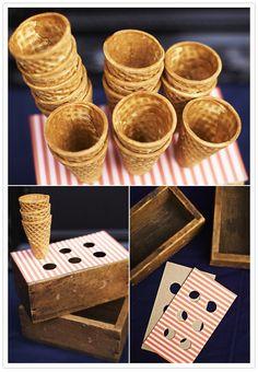 DIY carnival popcorn or ice cream holder party-themes-crafts Ice Cream Holder, Ice Cream Stand, Diy Ice Cream, Ice Cream Theme, Ice Cream Parlor, Gelato, Glace Diy, Decor Eventos, Bar A Bonbon