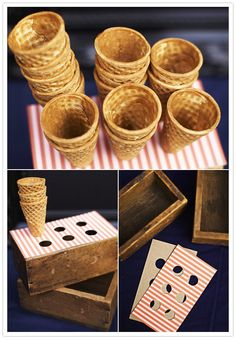 Homemade ice cream cone holder... could use scrapbook paper that goes with party theme