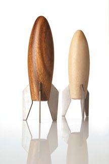 Rocket Salt & Pepper by Museum of Robots: Made of acacia wood with stainless steel fins. $52 #Rocket #Salt_and_Pepper #Museum_of_Robots