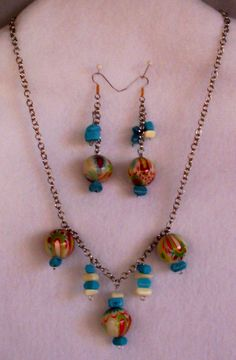 Earring/Necklace Set Multi Color Large Beads $14.95