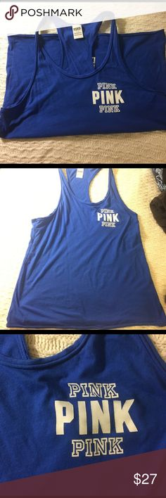 Pink tanktop Blue Victoria's Secret tanktop, perfect condition, only wore one time, super cute. PINK Victoria's Secret Tops Tank Tops