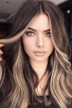 Hair Color Streaks, Hair Color And Cut, Hair Dye Colors, Hair Highlights, Dark Hair With Color, Best Hair Color, Hair Streaks Blonde, Highlights For Brunettes, Hair Color Ideas For Black Hair