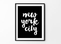NYC poster, inspirational, wall decor, motto, home, print art, gift idea, typography art, brush type, love poster, handwritten New York City