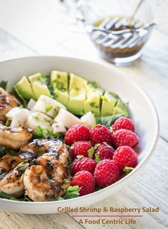 Grilled Shrimp & Raspberry Avocado Salad via @chefsallycam
